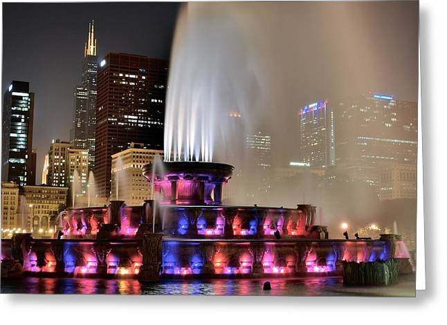 Jacksonville Greeting Cards - Buckingham Fountain Aglow Greeting Card by Frozen in Time Fine Art Photography