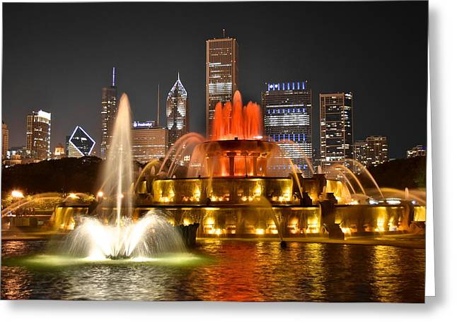 Flowing Wells Greeting Cards - Buckingham Fountain at Night Greeting Card by Frozen in Time Fine Art Photography