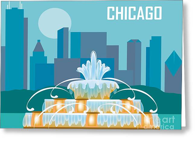 Skyline Print Greeting Cards - Buckingham Fountain Chicago Greeting Card by Karen Young