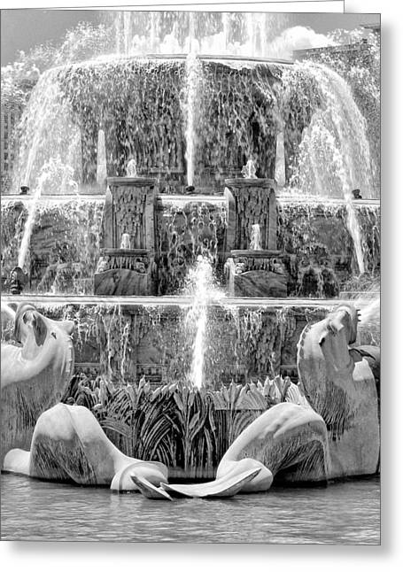 Sea Horse Photographs Greeting Cards - Buckingham Fountain Closeup Black and White Greeting Card by Christopher Arndt