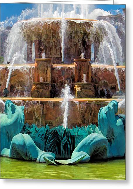 Close Up Paintings Greeting Cards - Buckingham Fountain Closeup Greeting Card by Christopher Arndt