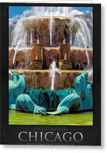 Sea Horse Greeting Cards - Buckingham Fountain Closeup Poster Greeting Card by Christopher Arndt