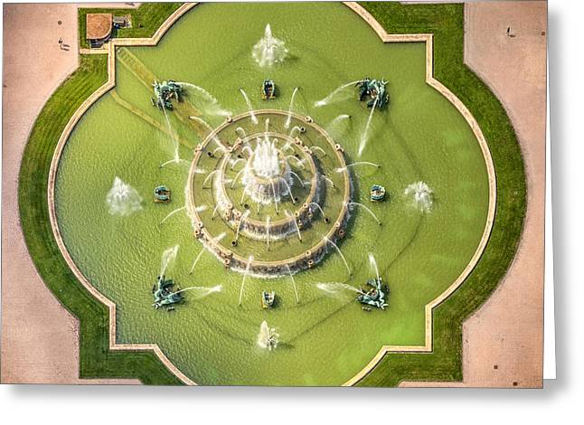 Aerial Greeting Cards - Buckingham Fountain From Above Greeting Card by Adam Romanowicz