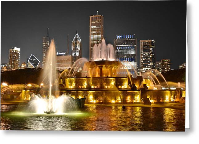 Intrigue Greeting Cards - Buckingham Fountain Greeting Card by Frozen in Time Fine Art Photography