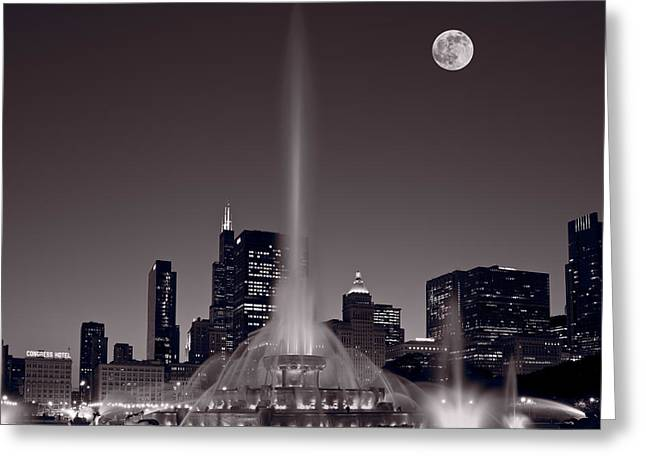 Full Moon Greeting Cards - Buckingham Fountain Nightlight Chicago BW Greeting Card by Steve Gadomski