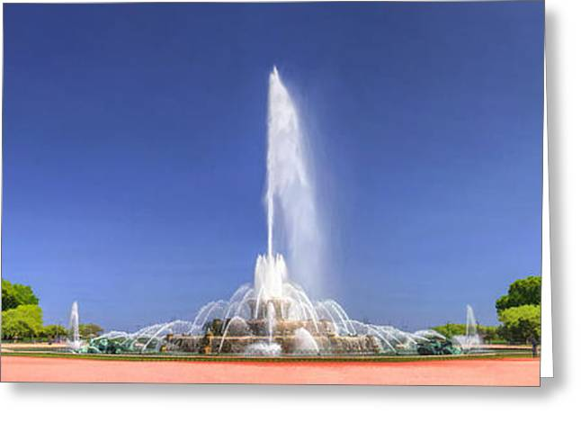 Chicago Paintings Greeting Cards - Buckingham Fountain Panorama Greeting Card by Christopher Arndt