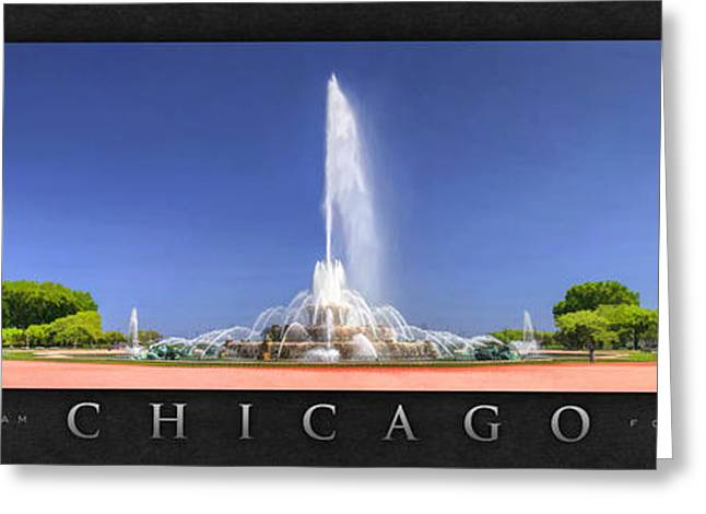 Chicago Paintings Greeting Cards - Buckingham Fountain Panorama Poster Greeting Card by Christopher Arndt