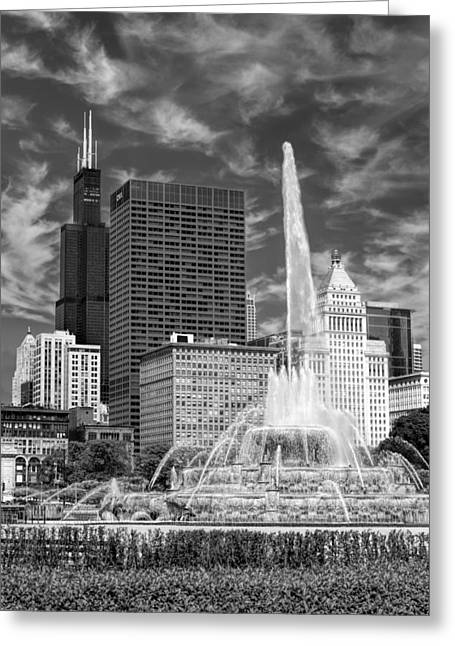 Sea Horse Photographs Greeting Cards - Buckingham Fountain Sears Tower Black and White Greeting Card by Christopher Arndt