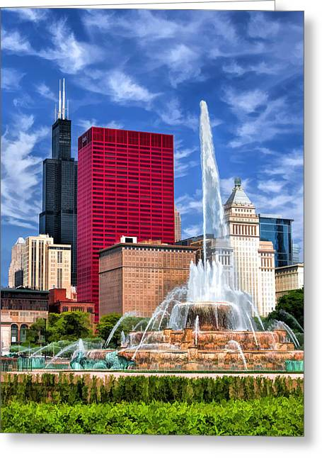 Close Up Paintings Greeting Cards - Buckingham Fountain Sears Tower Greeting Card by Christopher Arndt