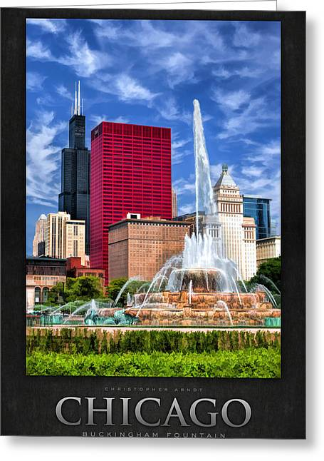 Sea Horse Greeting Cards - Buckingham Fountain Sears Tower Poster Greeting Card by Christopher Arndt