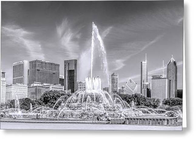 Chicago Greeting Cards - Buckingham Fountain Skyline Panorama Black and White Greeting Card by Christopher Arndt