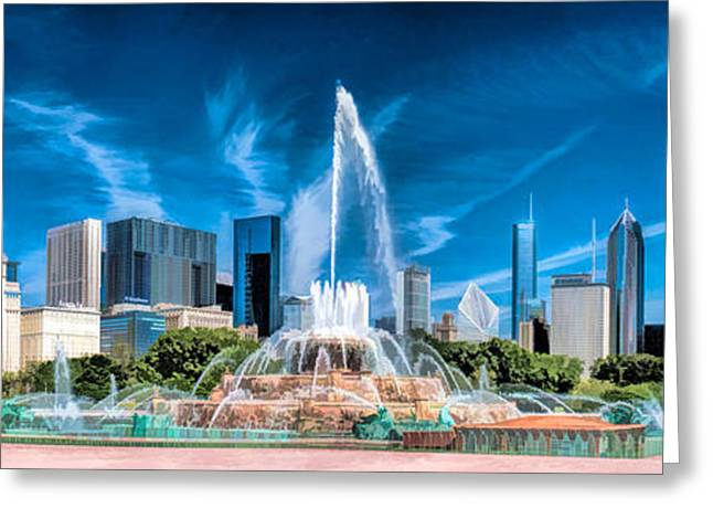 Christopher Arndt Greeting Cards - Buckingham Fountain Skyline Panorama Greeting Card by Christopher Arndt