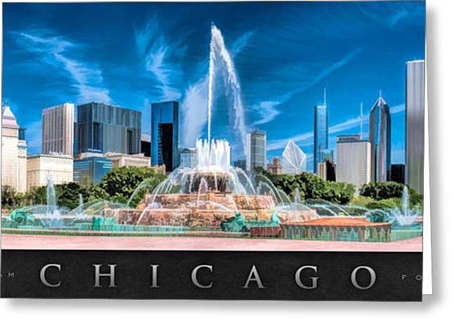 Chicago Paintings Greeting Cards - Buckingham Fountain Skyline Panorama Poster Greeting Card by Christopher Arndt