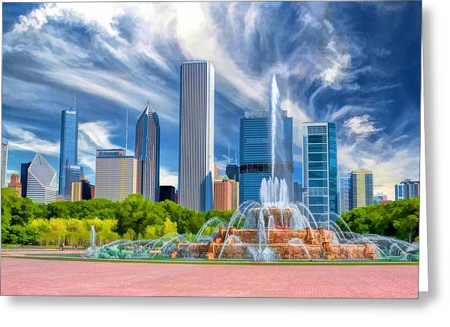 Chicago Paintings Greeting Cards - Buckingham Fountain Skyscrapers Greeting Card by Christopher Arndt