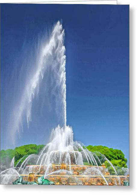 Chicago Paintings Greeting Cards - Buckingham Fountain Spray Greeting Card by Christopher Arndt