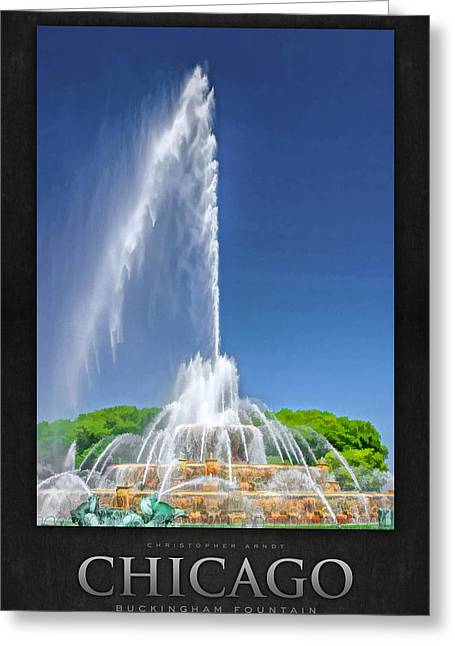 Chicago Paintings Greeting Cards - Buckingham Fountain Spray Poster Greeting Card by Christopher Arndt