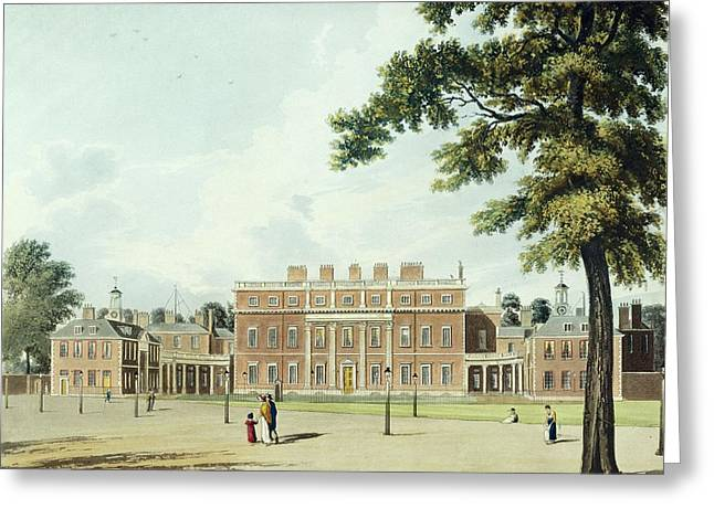 Exterior Greeting Cards - Buckingham House, From The History Greeting Card by William Westall