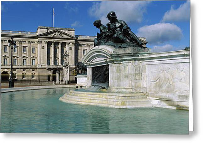 Buckingham Palace Greeting Cards - Buckingham Palace And The Queen Greeting Card by Panoramic Images