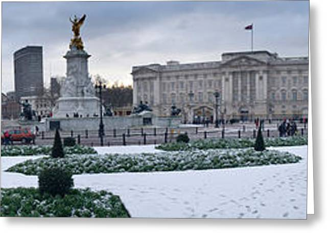 Buckingham Palace Greeting Cards - Buckingham Palace In Winter, City Greeting Card by Panoramic Images
