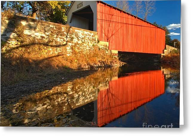 Covered Bridge Greeting Cards - Bucks County 1871 Covered Bridge Greeting Card by Adam Jewell