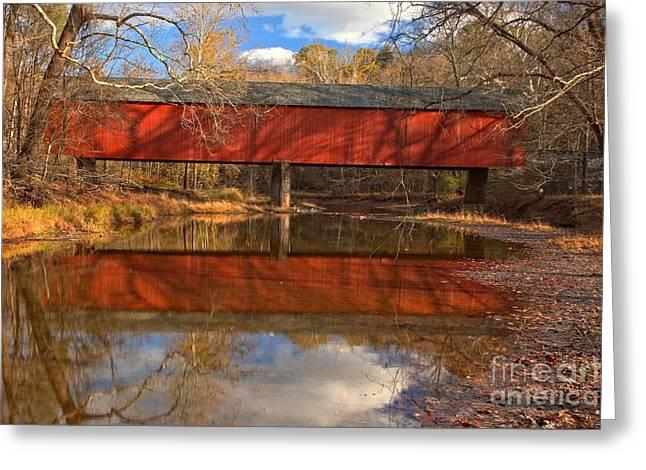 Bucks County Covered Bridge - Frankenfield Covered Bridge Greeting Card by Adam Jewell