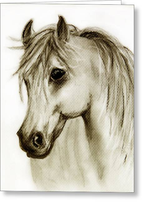 Sepia Pastels Greeting Cards - Buckskin  Greeting Card by Linde Townsend
