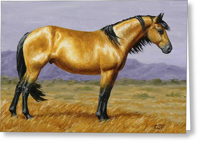 Wild Horses Paintings Greeting Cards - Buckskin Mustang Stallion Greeting Card by Crista Forest