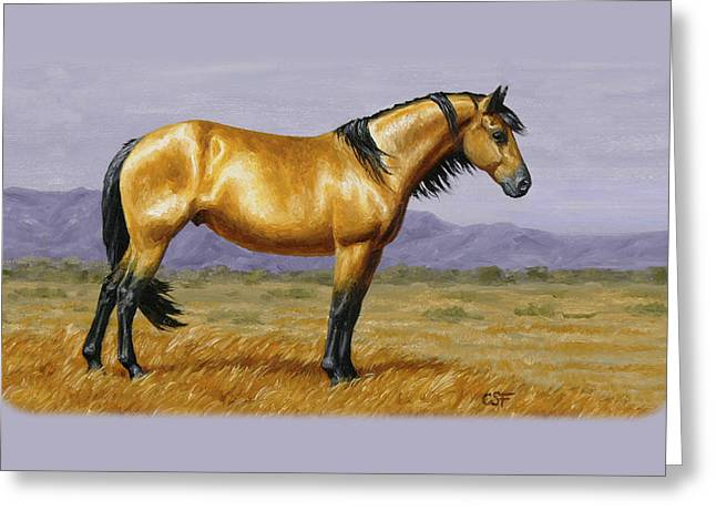 Buckskin Horse Greeting Cards - Buckskin Mustang Stallion Phone Case Greeting Card by Crista Forest