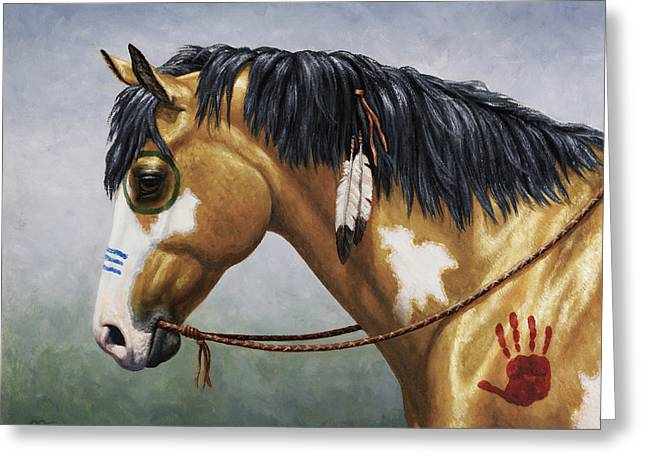 Buckskin Horse Greeting Cards - Buckskin Native American War Horse Greeting Card by Crista Forest