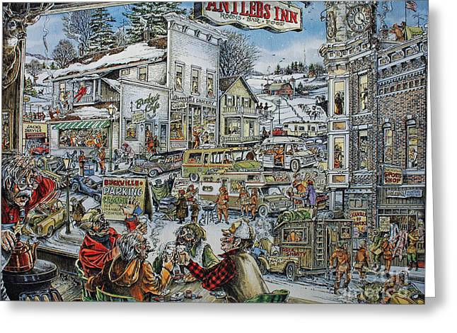 Deer Camp Greeting Cards - Buckville Greeting Card by Jack G  Brauer