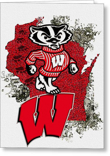 Stadium Design Greeting Cards - Bucky Badger University of Wisconsin Greeting Card by Jack Zulli