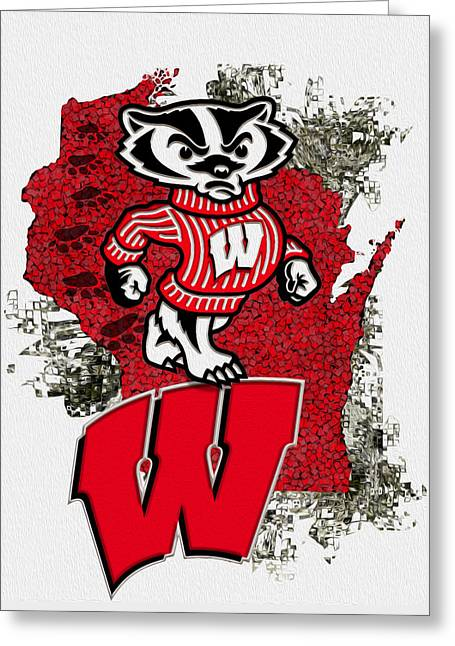 Sports Art Print Greeting Cards - Bucky Badger University of Wisconsin Greeting Card by Jack Zulli