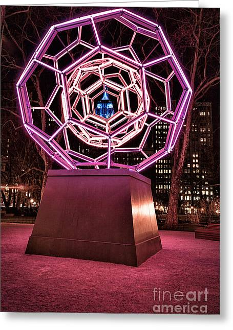Art Installation Greeting Cards - bucky ball Madison square park Greeting Card by John Farnan