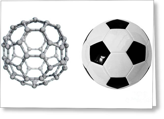 Truncated Greeting Cards - Buckyball And Soccer Ball, Comparison Greeting Card by Science Source