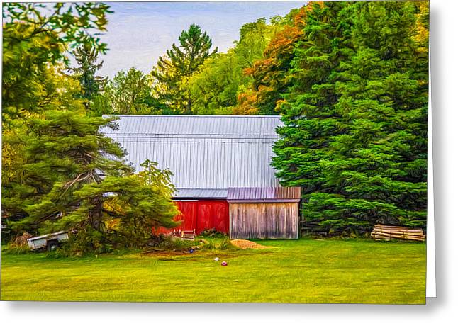 Red Roofed Barn Greeting Cards - Bucolic Barn - Paint Greeting Card by Steve Harrington