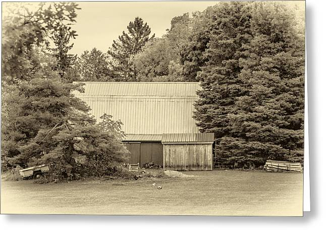 Red Roofed Barn Greeting Cards - Bucolic Barn - Sepia Greeting Card by Steve Harrington