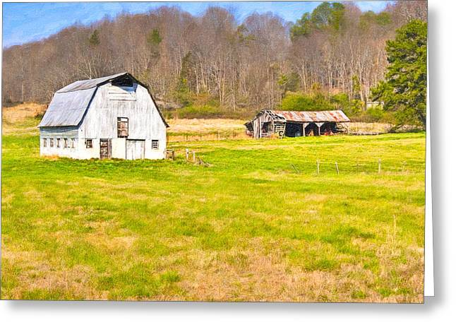 Dairy Barn Greeting Cards - Bucolic Dairy Barn In North Georgia Landscape Greeting Card by Mark Tisdale