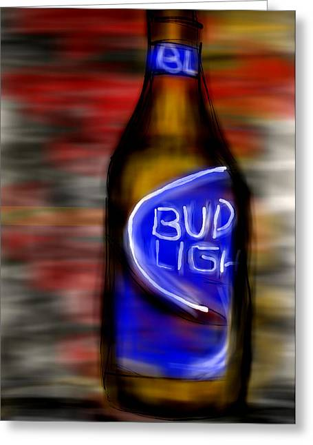 Photography Of Liquor Greeting Cards - Bud Light Beer Greeting Card by Mark Moore