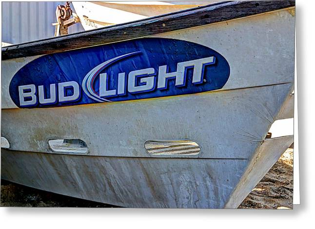 Wooden Ship Greeting Cards - Bud Light Dory Boat Greeting Card by Heidi Smith