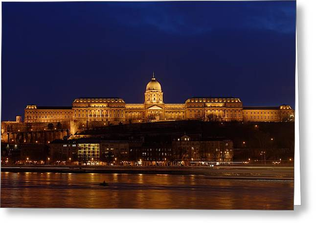 Historical Buildings Pyrography Greeting Cards - Buda Castle by the Danube river Greeting Card by Oliver Sved