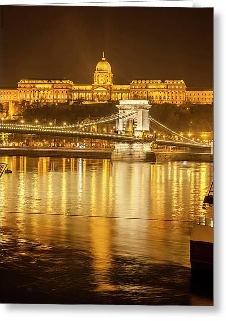 Buda Castle Chain Bridge Nightscape Greeting Card by Tom Norring