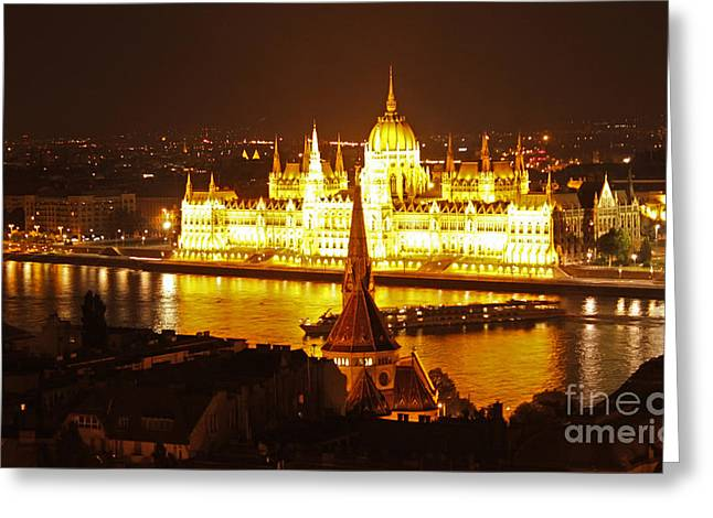 Budapest At Night Greeting Card by Gregory Dyer