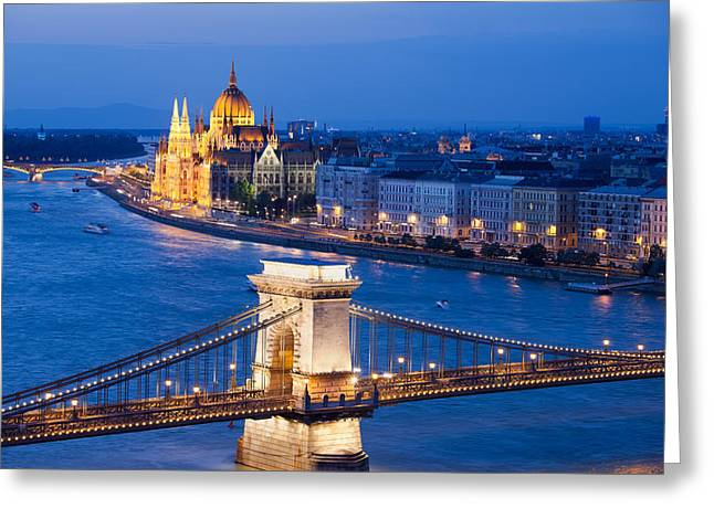 Recently Sold -  - Residential Structure Greeting Cards - Budapest Cityscape at Night Greeting Card by Artur Bogacki