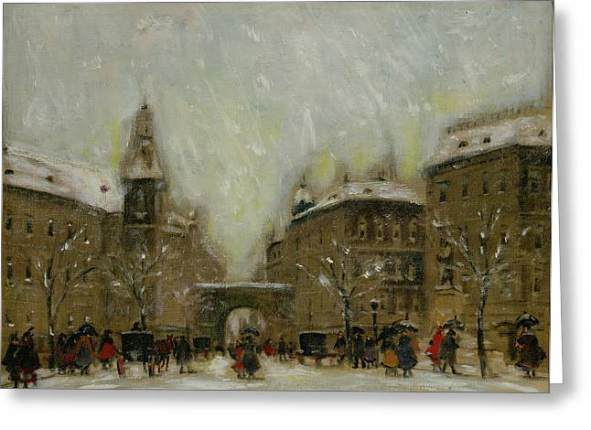Budapest In The Snow Greeting Card by Antal Berkes