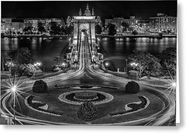 Evening Lights Greeting Cards - Budapest Lights Greeting Card by Mountain Dreams