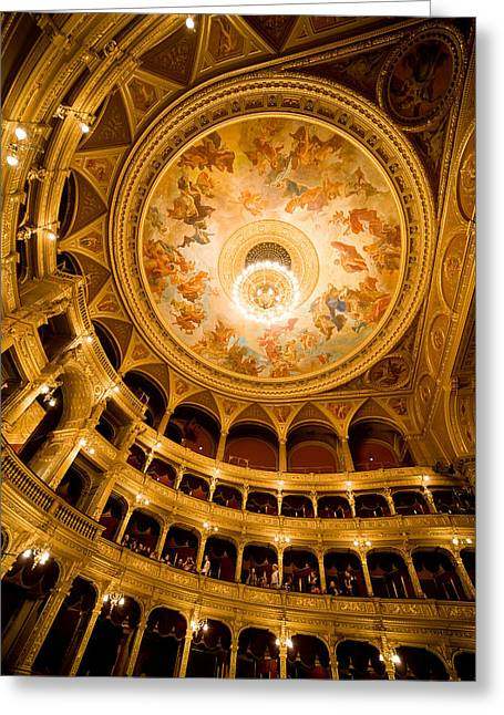 Hungarian Greeting Cards - Budapest Opera House Auditorium and Ceiling Greeting Card by Artur Bogacki