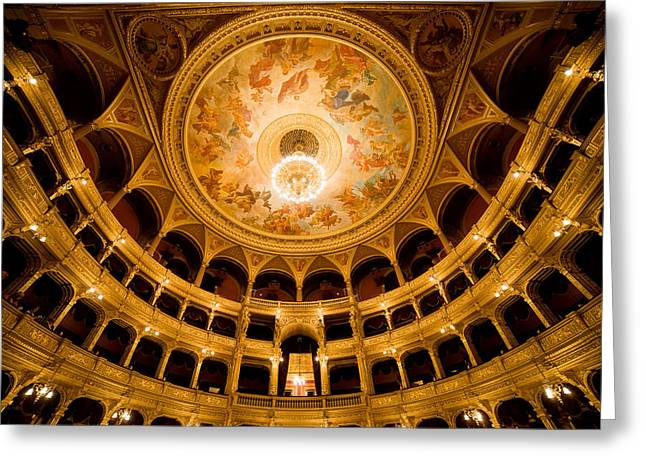 Hungarian Greeting Cards - Budapest Opera House Auditorium Greeting Card by Artur Bogacki