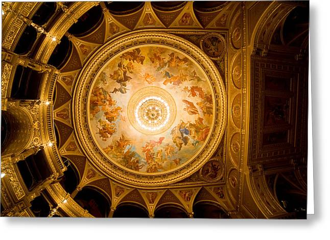 Painted Hall Greeting Cards - Budapest Opera House Ceiling Frescos Greeting Card by Artur Bogacki