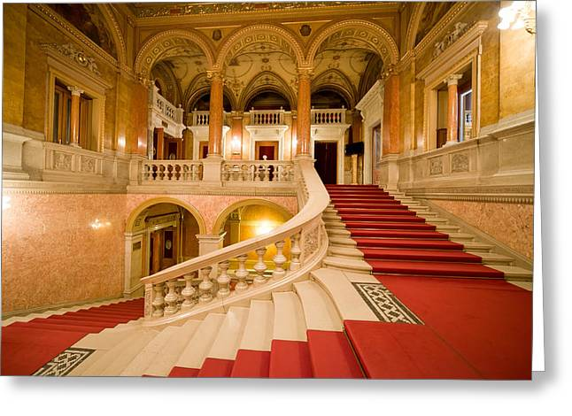 """red Carpet"" Greeting Cards - Budapest Opera House Interior Staircase Greeting Card by Artur Bogacki"