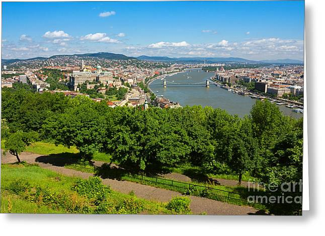 Colorful Trees Greeting Cards - Budapest Panoramic view from The Gellert Hill with Danube river Greeting Card by Kiril Stanchev